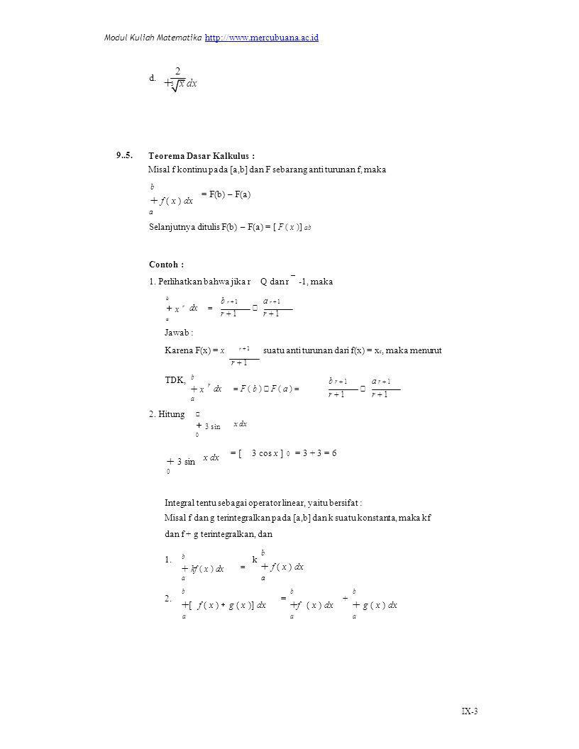 r 1 x dx  x dx  f ( x ) dx  f ( x ) dx [ f ( x ) g ( x )] dx